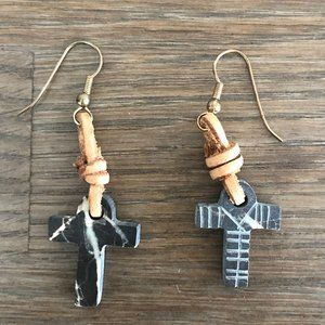 Vintage 90's Stone Cross with Leather Earrings